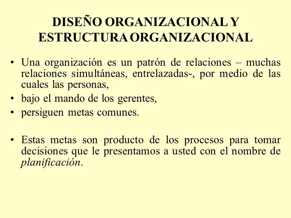 DISEÑO ORGANIZACIONAL Y ESTRUCTURA ORGANIZACIONAL