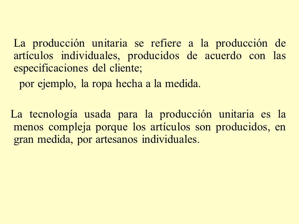 La producción unitaria se refiere a la producción de artículos individuales, producidos de acuerdo con las especificaciones del cliente;