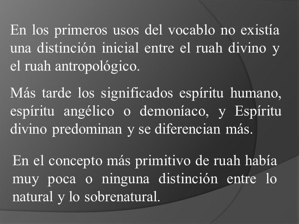 En los primeros usos del vocablo no existía una distinción inicial entre el ruah divino y el ruah antropológico.