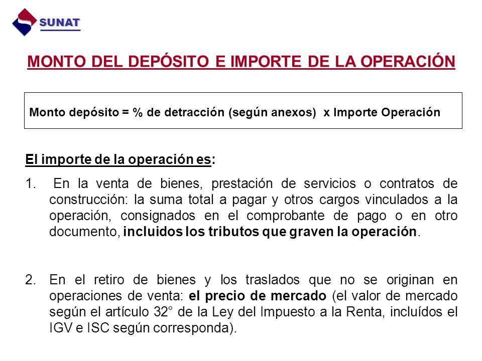 MONTO DEL DEPÓSITO E IMPORTE DE LA OPERACIÓN