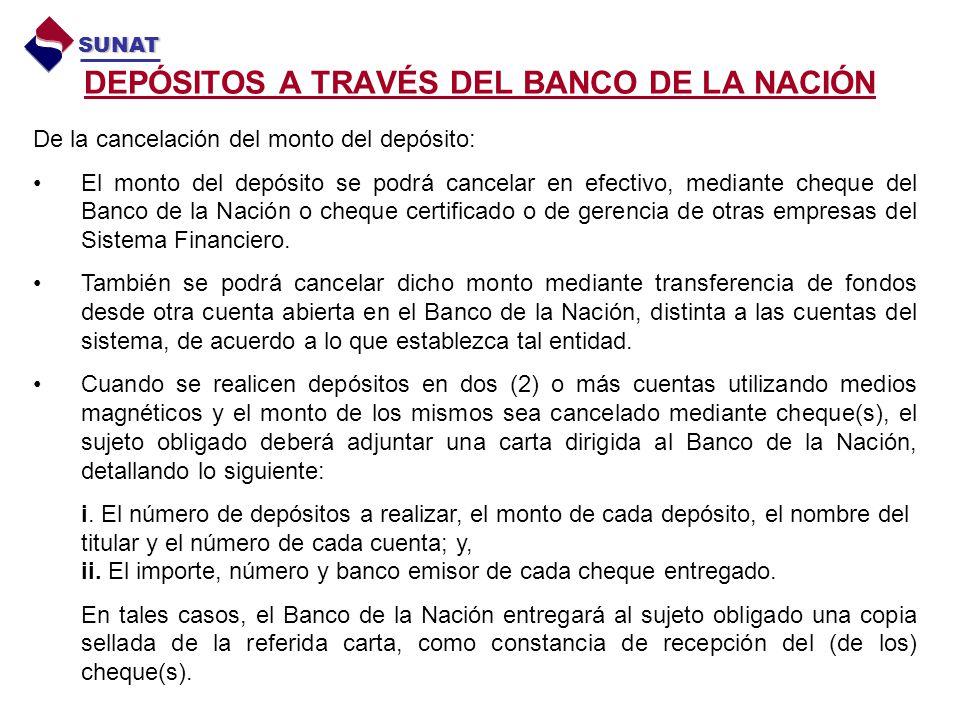 DEPÓSITOS A TRAVÉS DEL BANCO DE LA NACIÓN