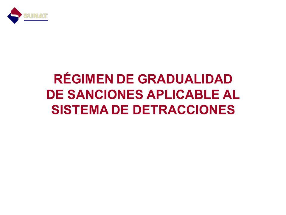 SUNAT RÉGIMEN DE GRADUALIDAD DE SANCIONES APLICABLE AL SISTEMA DE DETRACCIONES