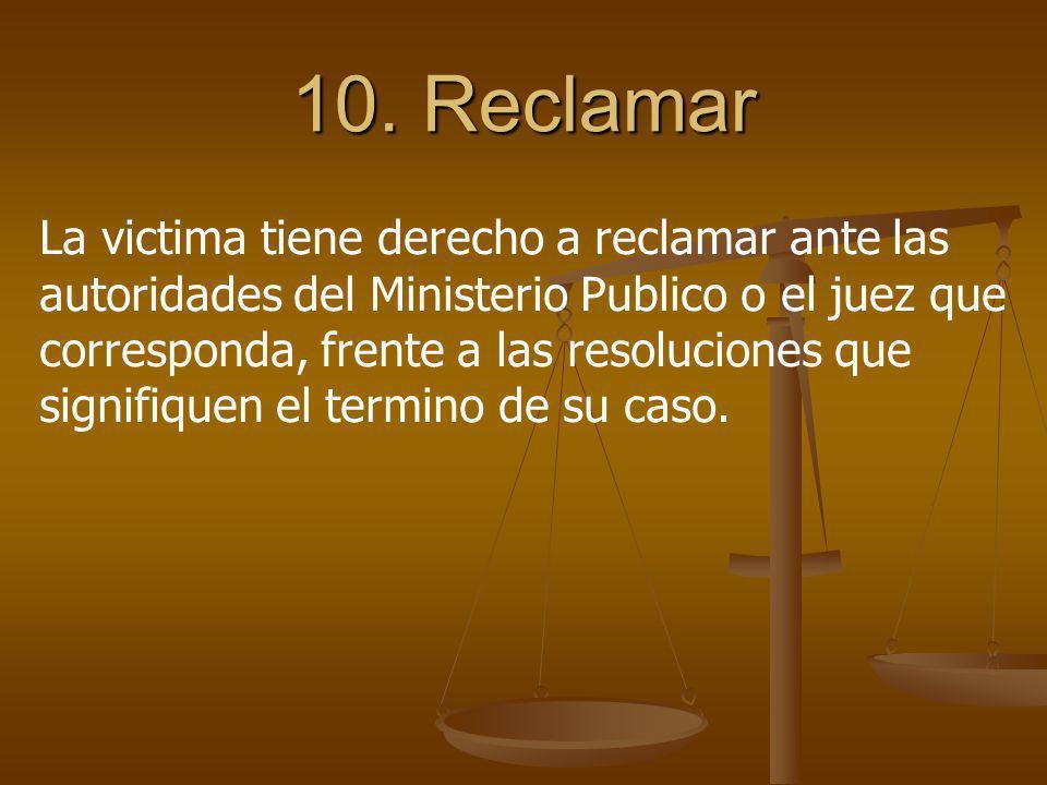 10. Reclamar
