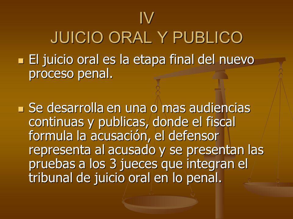 IV JUICIO ORAL Y PUBLICO