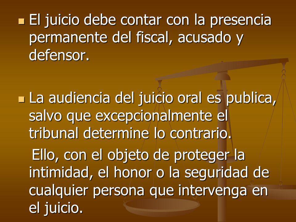 El juicio debe contar con la presencia permanente del fiscal, acusado y defensor.
