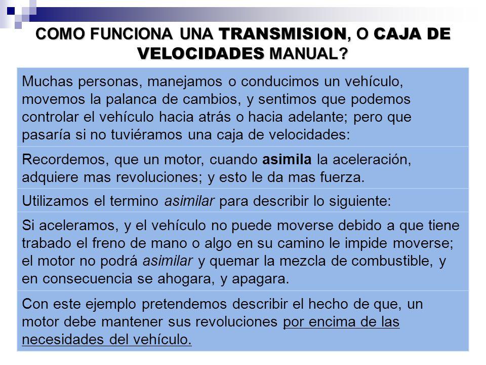 COMO FUNCIONA UNA TRANSMISION, O CAJA DE VELOCIDADES MANUAL