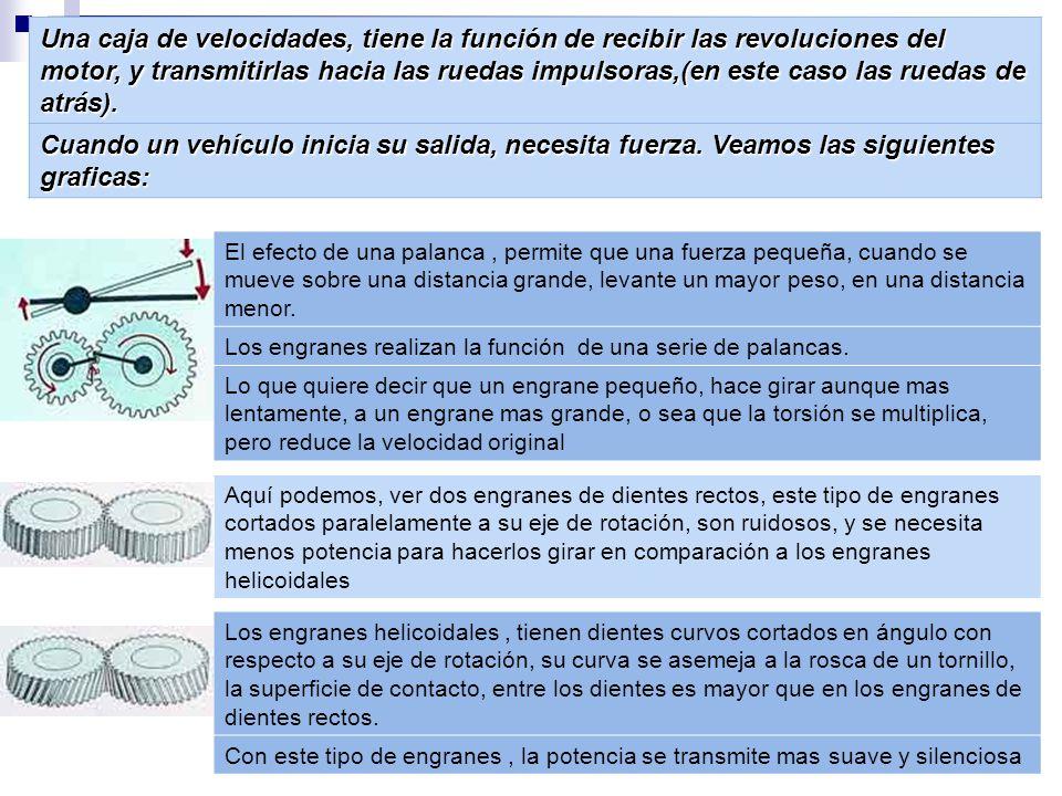 Una caja de velocidades, tiene la función de recibir las revoluciones del motor, y transmitirlas hacia las ruedas impulsoras,(en este caso las ruedas de atrás).