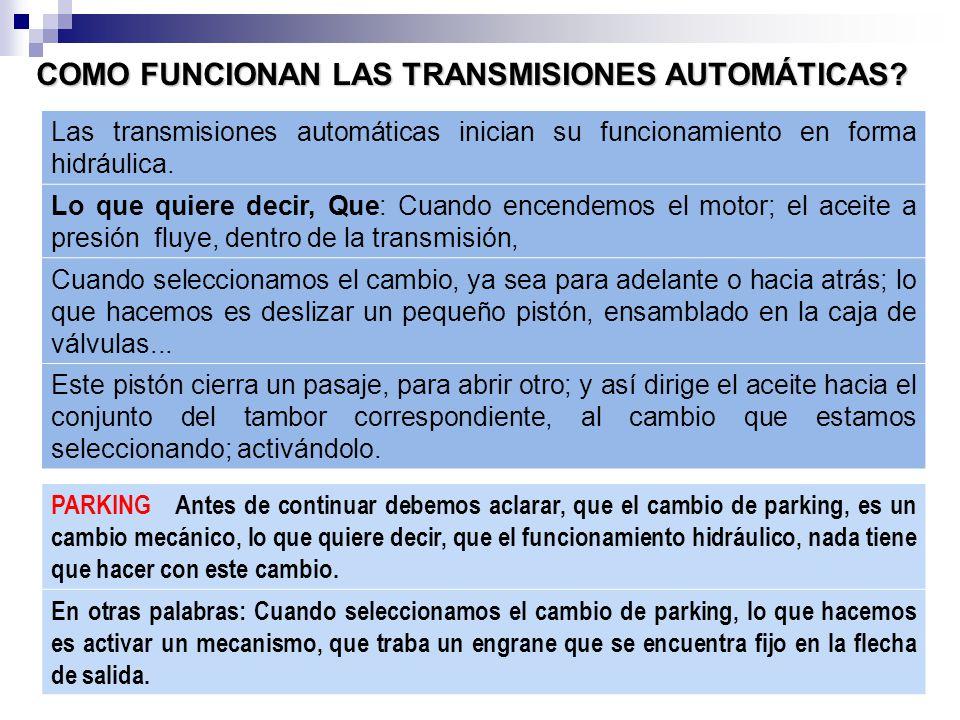 COMO FUNCIONAN LAS TRANSMISIONES AUTOMÁTICAS