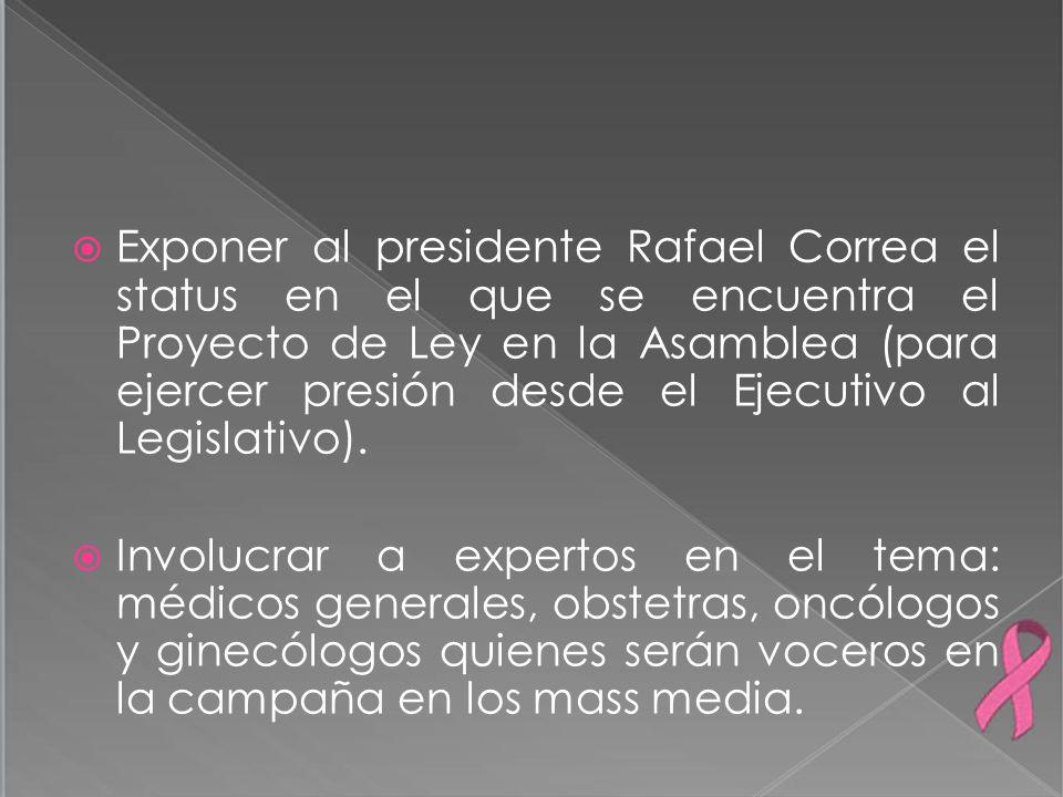 Exponer al presidente Rafael Correa el status en el que se encuentra el Proyecto de Ley en la Asamblea (para ejercer presión desde el Ejecutivo al Legislativo).