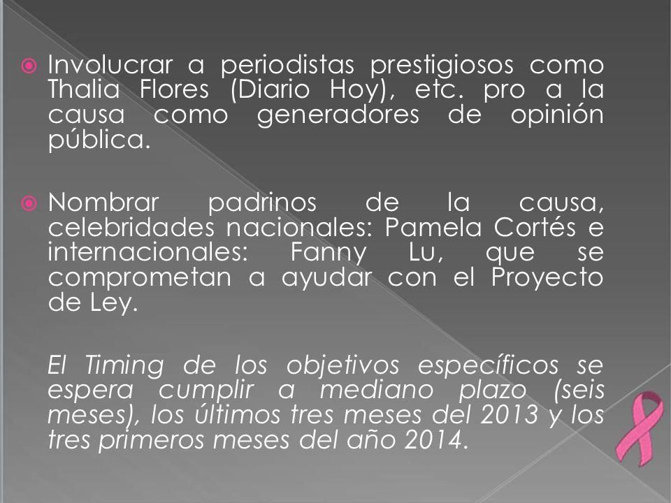 Involucrar a periodistas prestigiosos como Thalia Flores (Diario Hoy), etc. pro a la causa como generadores de opinión pública.