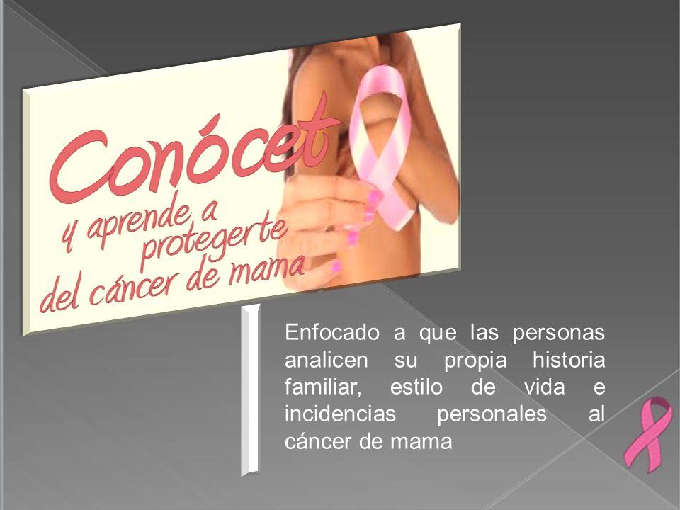 Enfocado a que las personas analicen su propia historia familiar, estilo de vida e incidencias personales al cáncer de mama