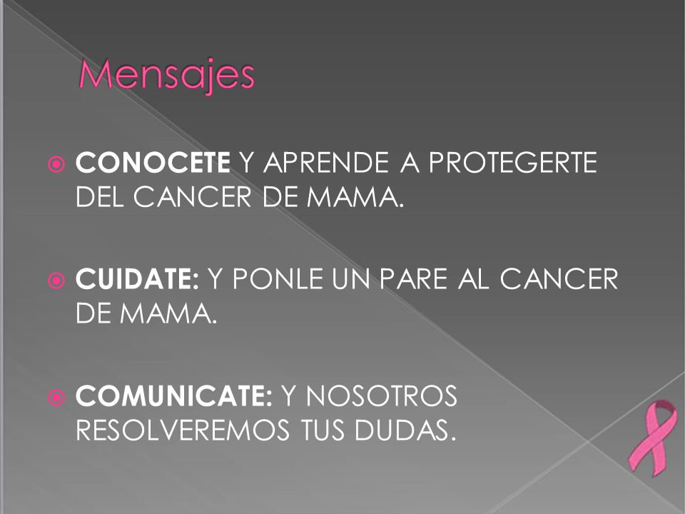 Mensajes CONOCETE Y APRENDE A PROTEGERTE DEL CANCER DE MAMA.