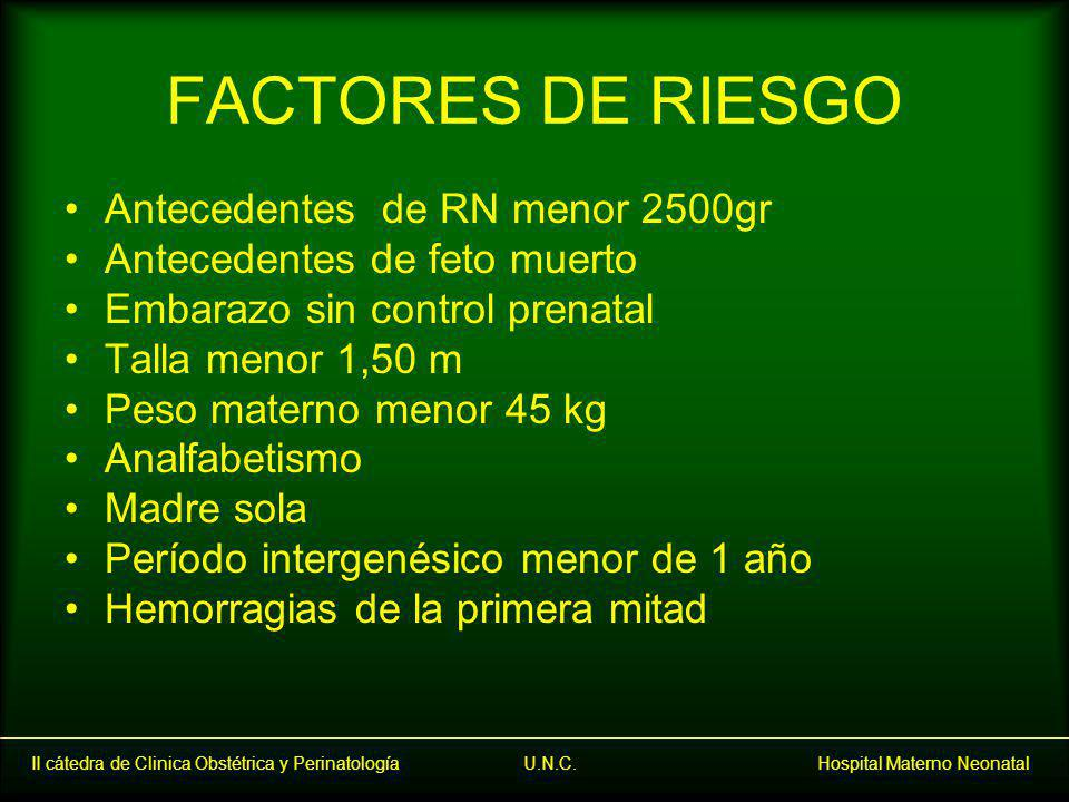 FACTORES DE RIESGO Antecedentes de RN menor 2500gr