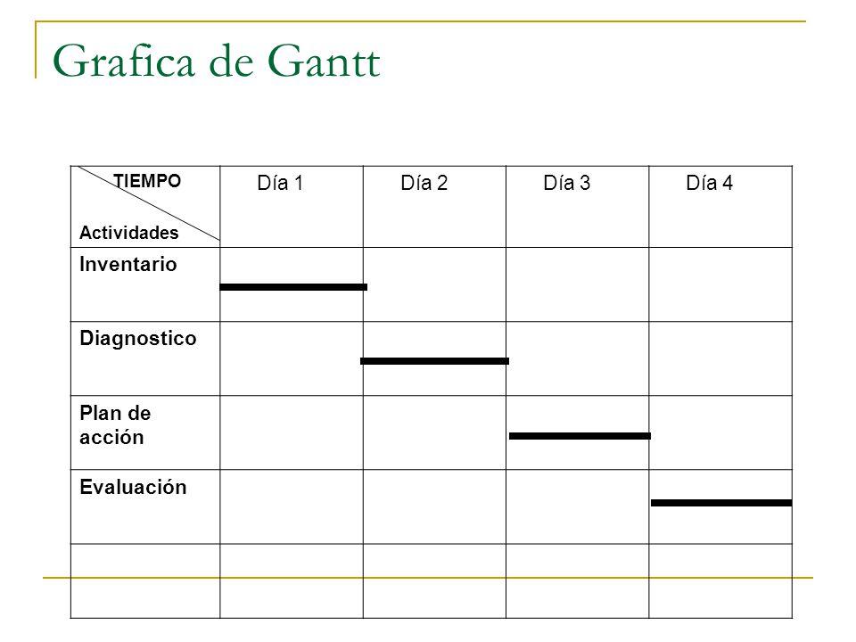 Grafica de Gantt Día 1 Día 2 Día 3 Día 4 Inventario Diagnostico