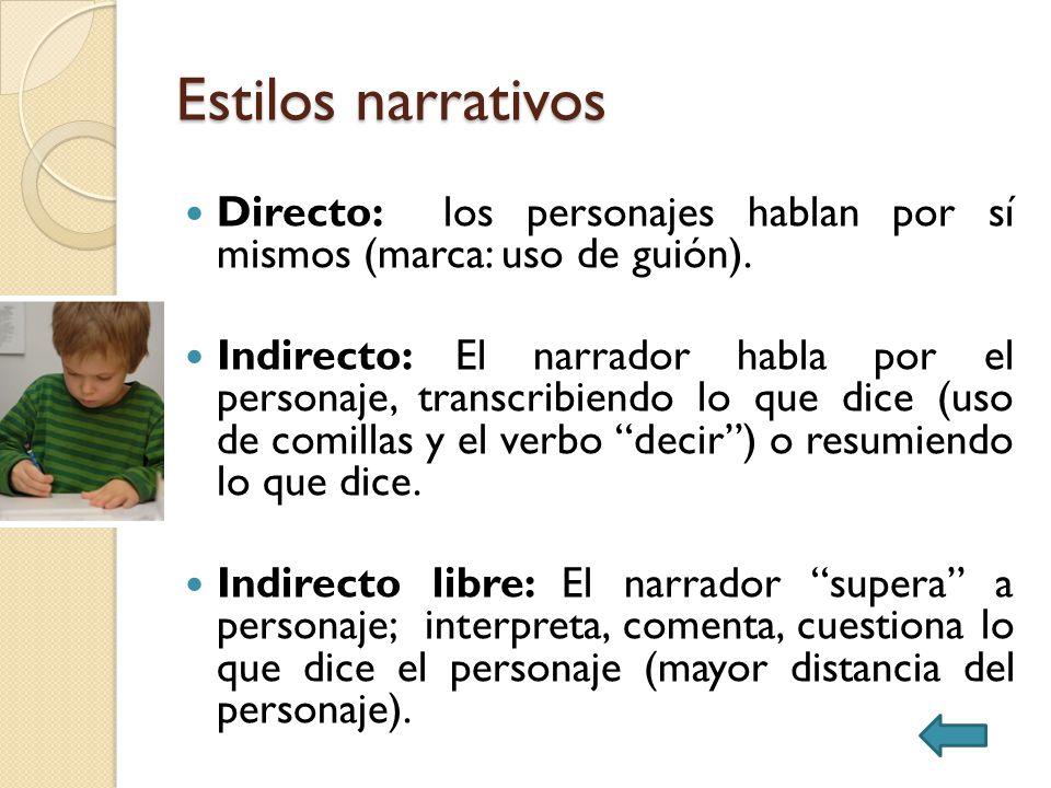 Estilos narrativos Directo: los personajes hablan por sí mismos (marca: uso de guión).