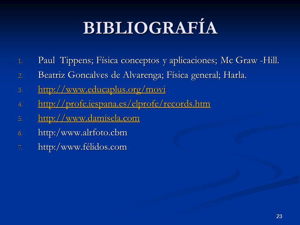 BIBLIOGRAFÍA Paul Tippens; Física conceptos y aplicaciones; Mc Graw -Hill. Beatriz Goncalves de Alvarenga; Física general; Harla.