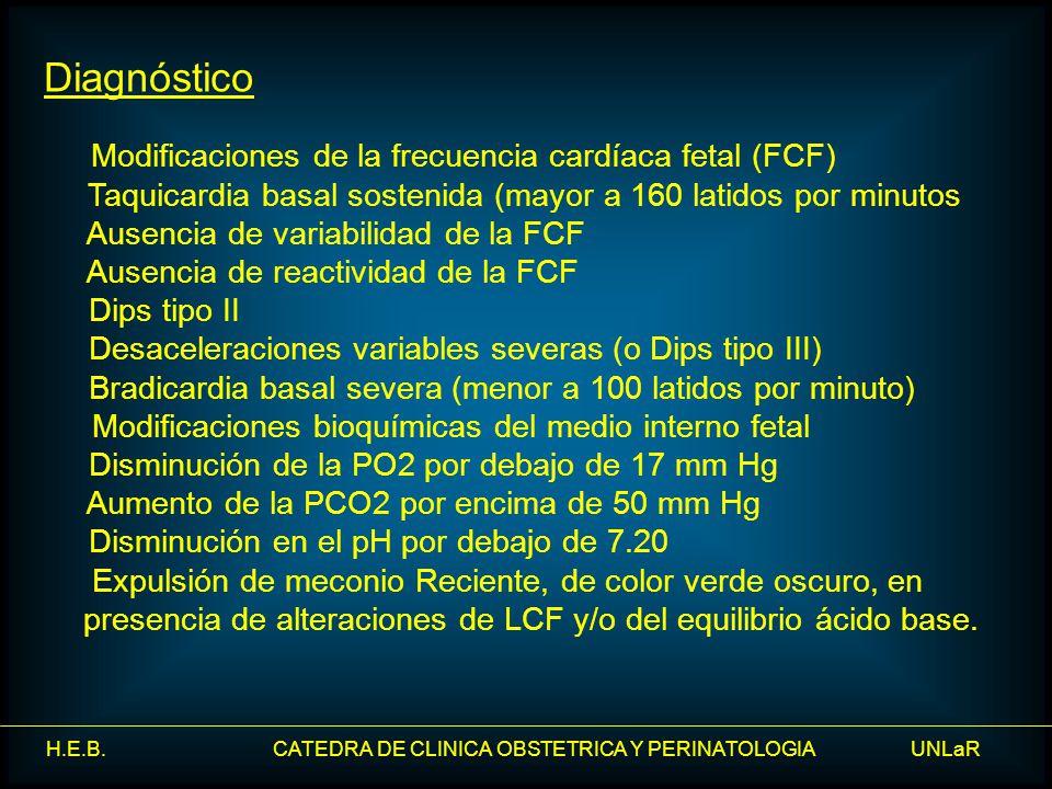Diagnóstico Modificaciones de la frecuencia cardíaca fetal (FCF) Taquicardia basal sostenida (mayor a 160 latidos por minutos.