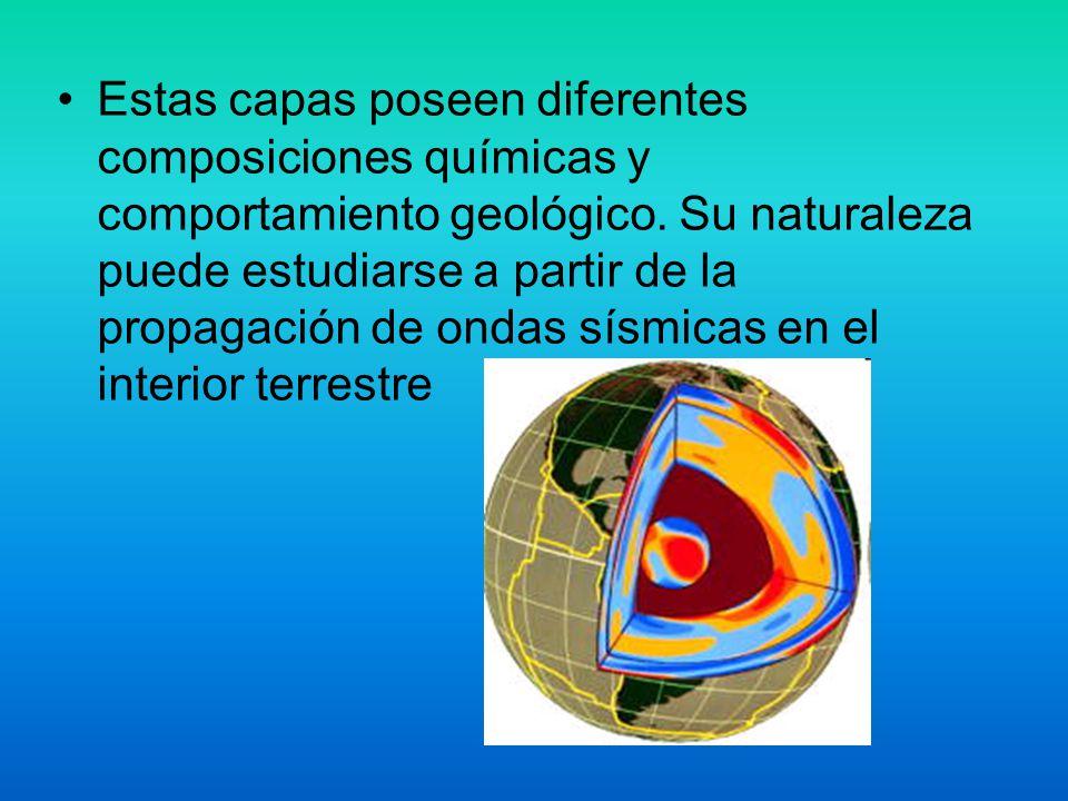 Estas capas poseen diferentes composiciones químicas y comportamiento geológico.