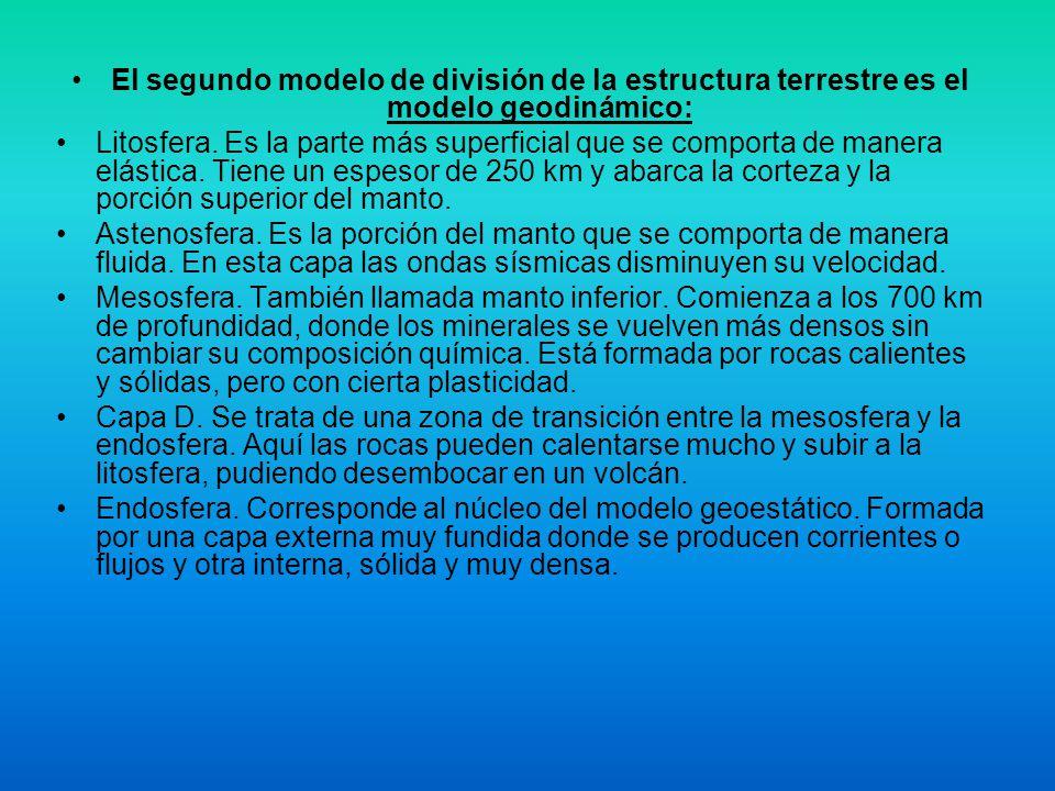 El segundo modelo de división de la estructura terrestre es el modelo geodinámico:
