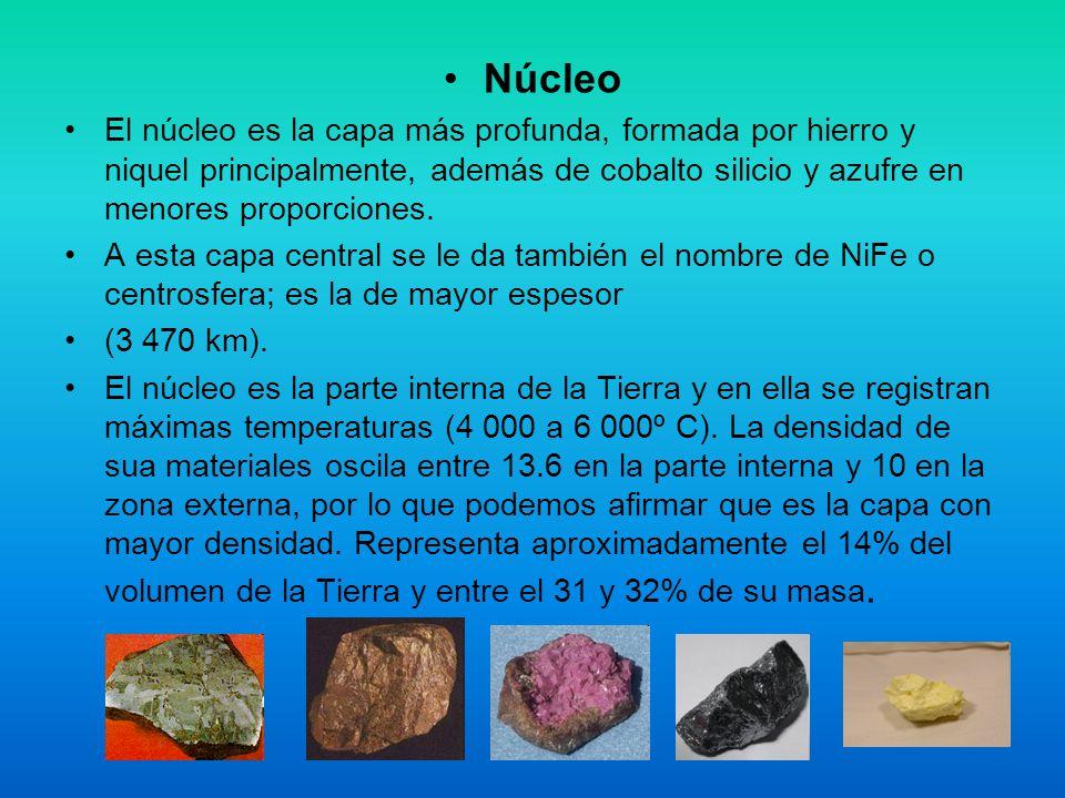 Núcleo El núcleo es la capa más profunda, formada por hierro y niquel principalmente, además de cobalto silicio y azufre en menores proporciones.