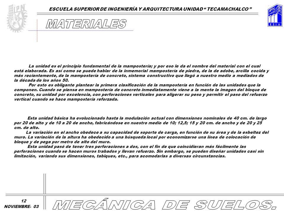 MATERIALES MECÁNICA DE SUELOS.