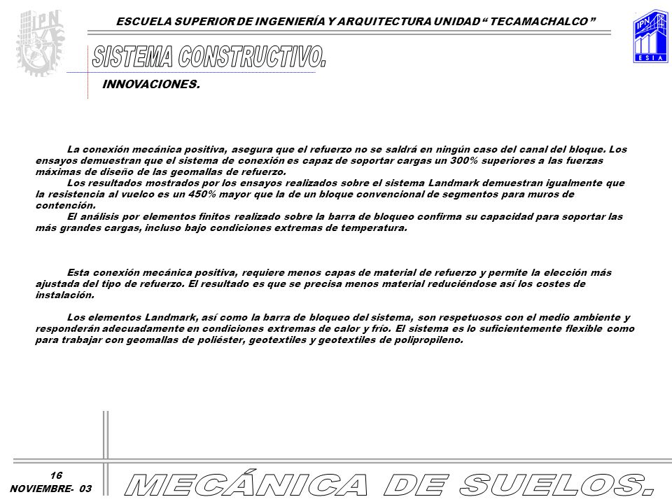 SISTEMA CONSTRUCTIVO. MECÁNICA DE SUELOS.