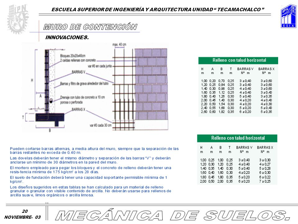 MURO DE CONTENCIÓN MECÁNICA DE SUELOS.