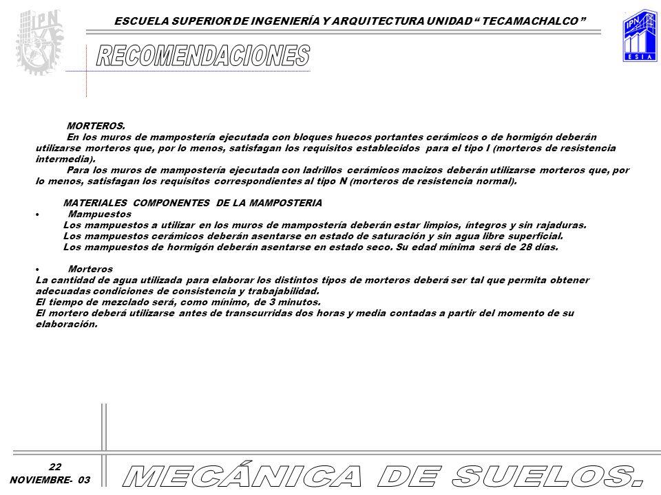 RECOMENDACIONES MECÁNICA DE SUELOS.