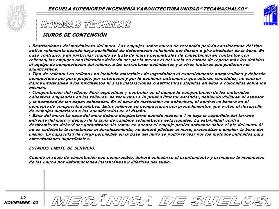NORMAS TÉCNICAS MECÁNICA DE SUELOS.