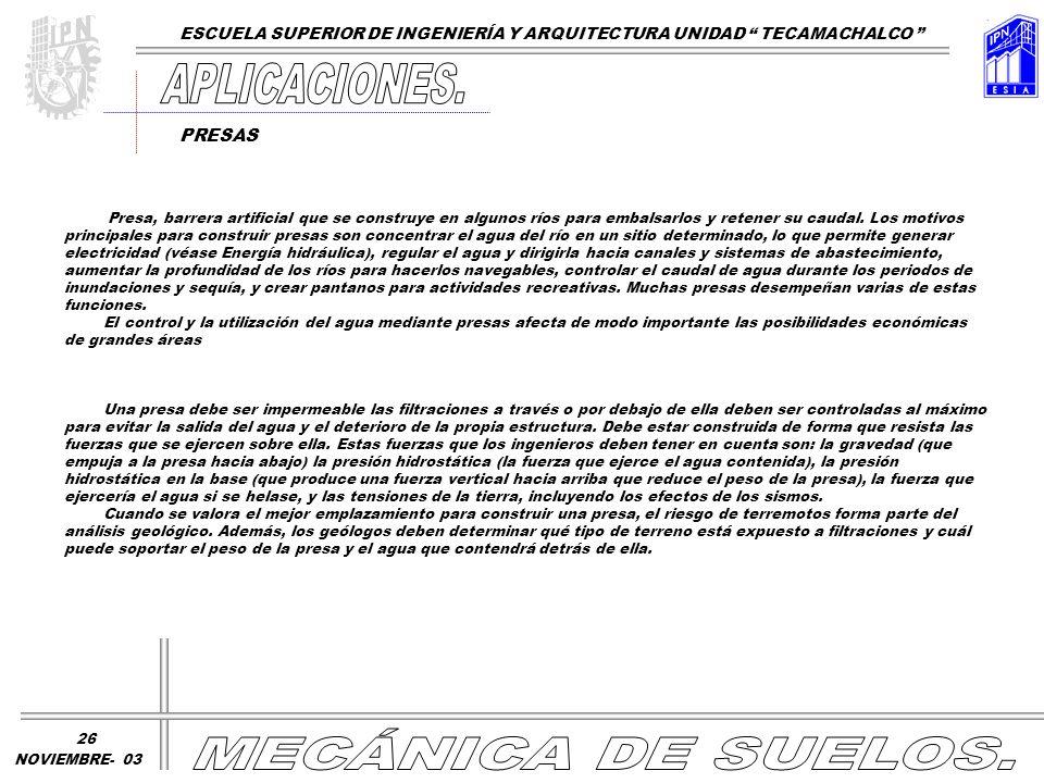 APLICACIONES. MECÁNICA DE SUELOS.