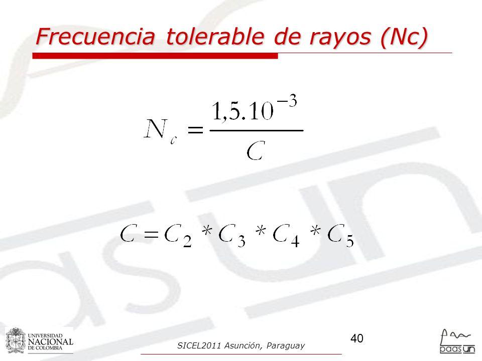 Frecuencia tolerable de rayos (Nc)