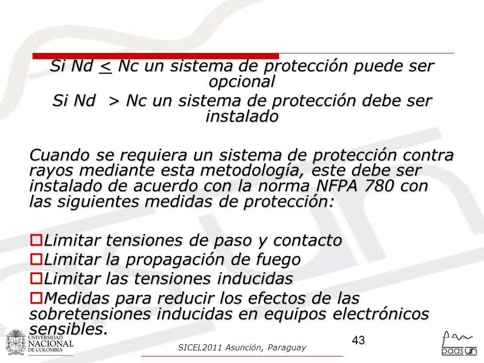 Si Nd < Nc un sistema de protección puede ser opcional