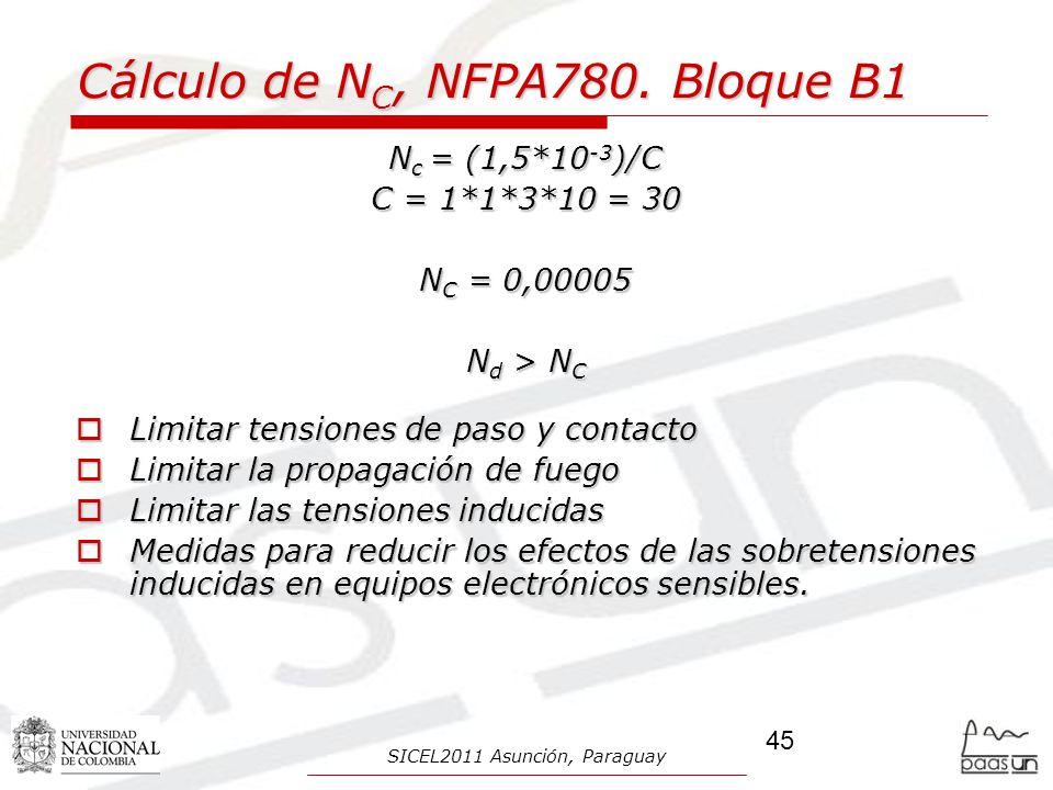 Cálculo de NC, NFPA780. Bloque B1