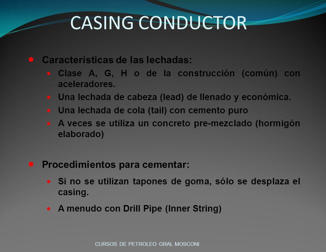 CASING CONDUCTOR Características de las lechadas: