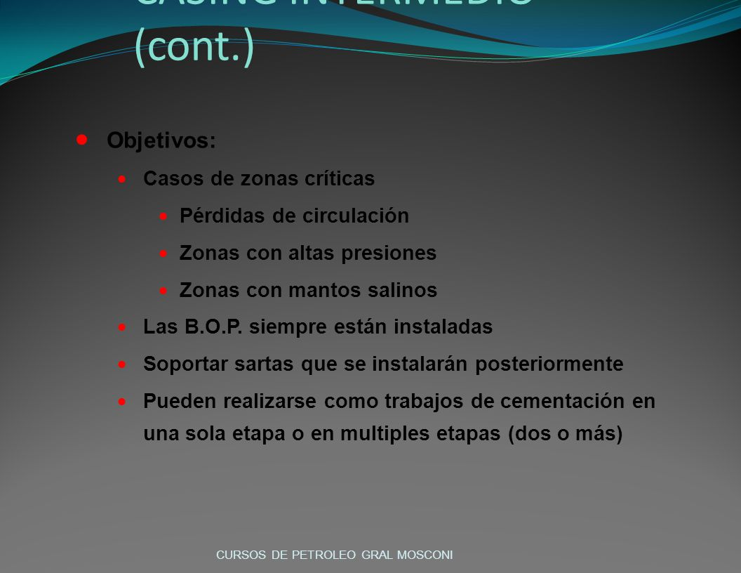 CASING INTERMEDIO (cont.)