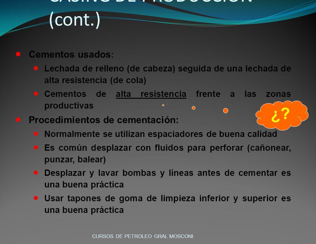 CASING DE PRODUCCIÓN (cont.)