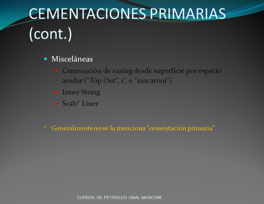 CEMENTACIONES PRIMARIAS (cont.)