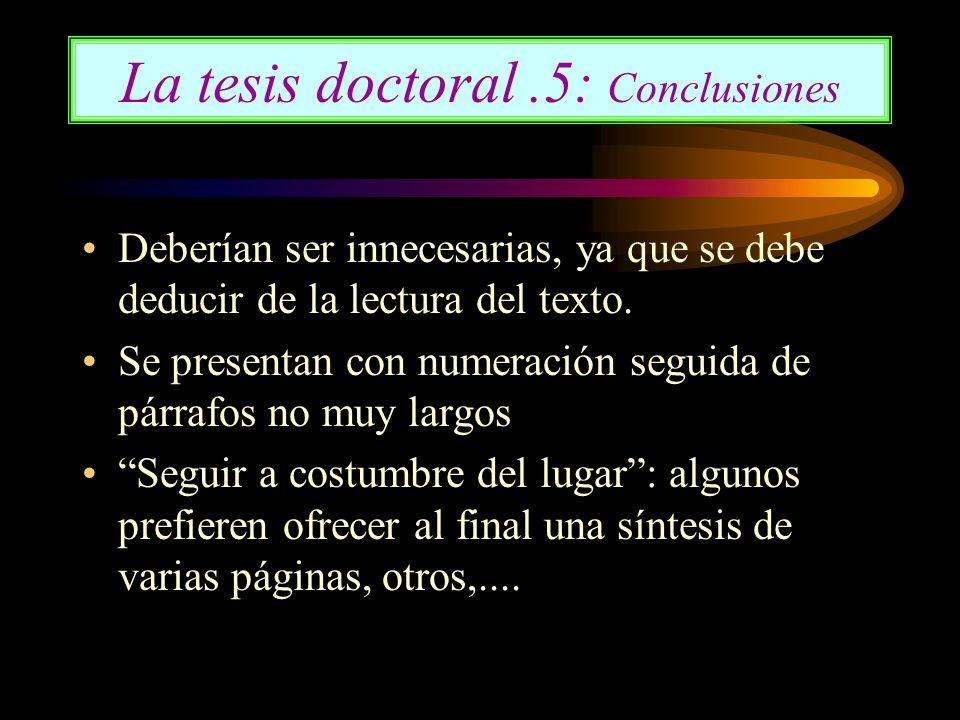 La tesis doctoral .5: Conclusiones