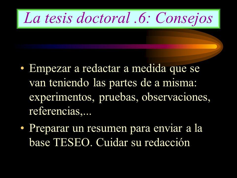 La tesis doctoral .6: Consejos