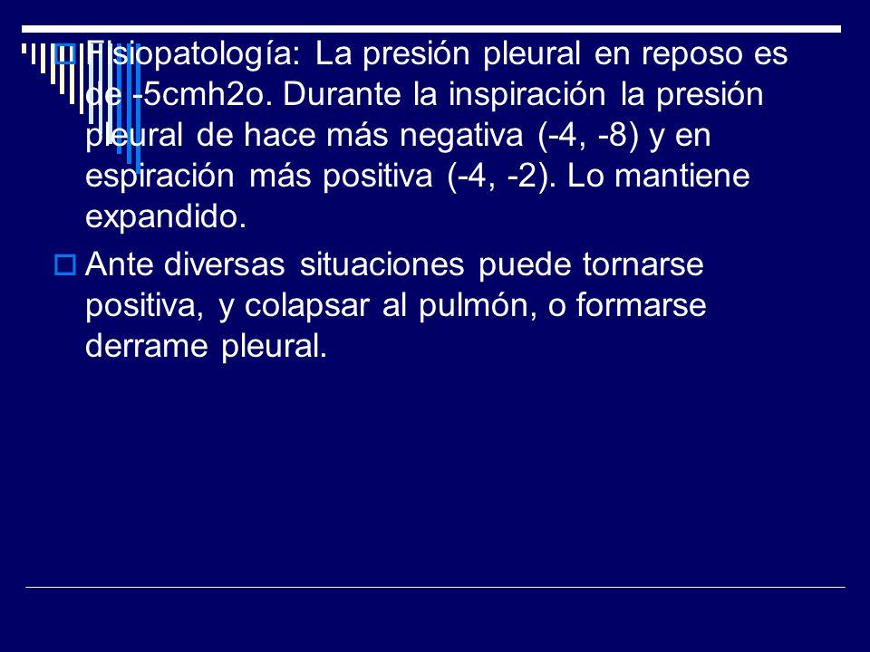 Fisiopatología: La presión pleural en reposo es de -5cmh2o
