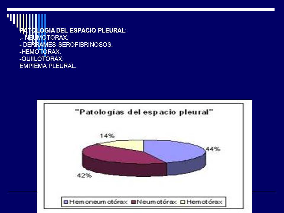 PATOLOGIA DEL ESPACIO PLEURAL: .- NEUMOTORAX. - DERRAMES SEROFIBRINOSOS.