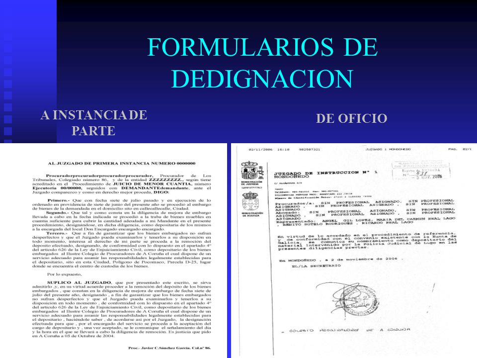 FORMULARIOS DE DEDIGNACION
