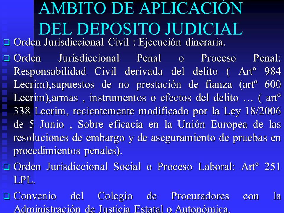 AMBITO DE APLICACIÓN DEL DEPOSITO JUDICIAL