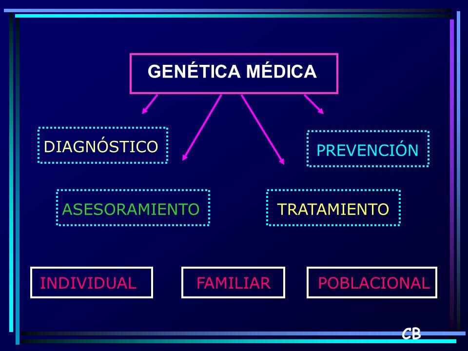GENÉTICA MÉDICA DIAGNÓSTICO PREVENCIÓN ASESORAMIENTO TRATAMIENTO INDIVIDUAL FAMILIAR POBLACIONAL CB