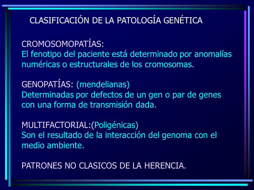 CLASIFICACIÓN DE LA PATOLOGÍA GENÉTICA