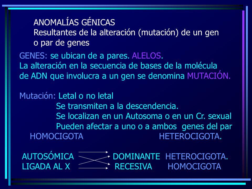 ANOMALÍAS GÉNICAS Resultantes de la alteración (mutación) de un gen. o par de genes. GENES: se ubican de a pares. ALELOS.