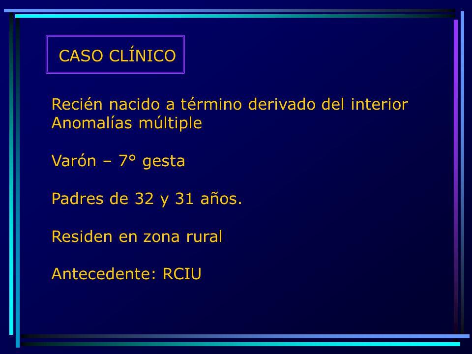 CASO CLÍNICO Recién nacido a término derivado del interior. Anomalías múltiple. Varón – 7° gesta.