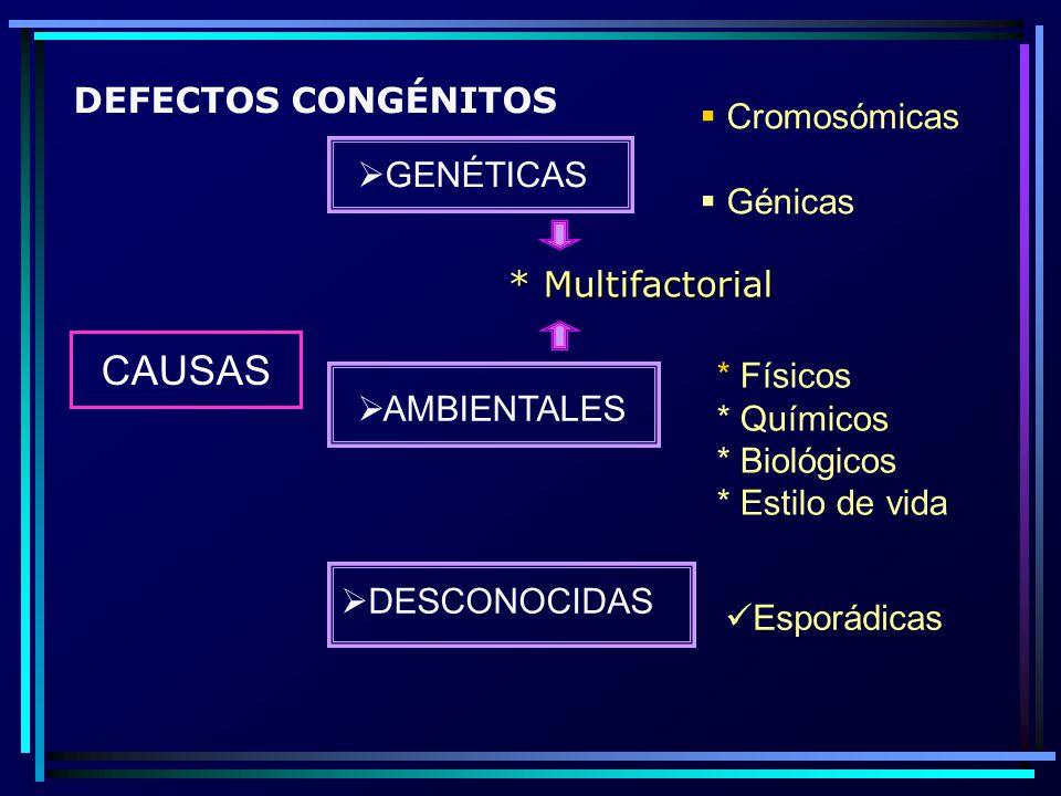 CAUSAS DEFECTOS CONGÉNITOS Cromosómicas Génicas GENÉTICAS