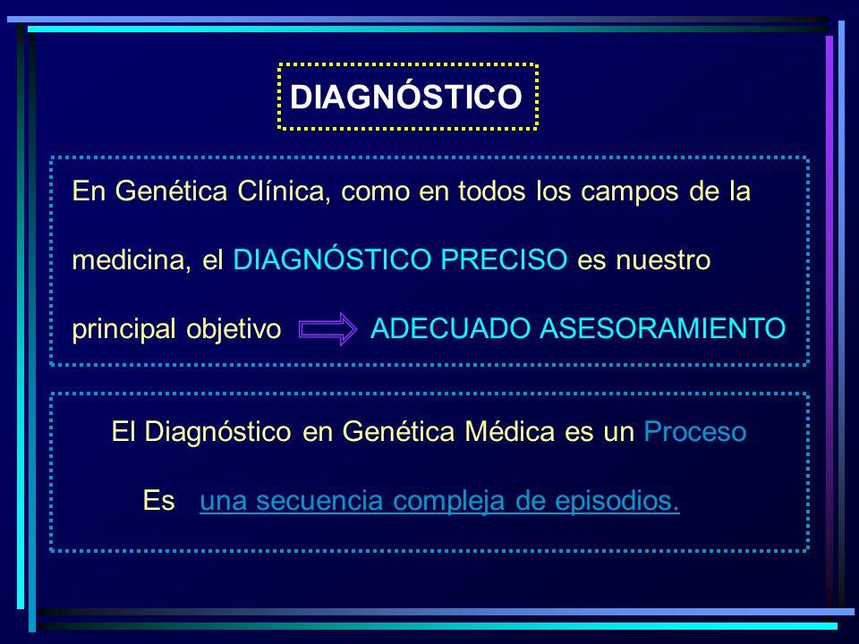 DIAGNÓSTICO En Genética Clínica, como en todos los campos de la