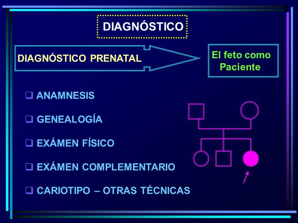 DIAGNÓSTICO El feto como DIAGNÓSTICO PRENATAL Paciente ANAMNESIS